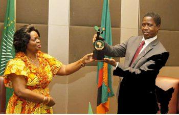 President Edgar Lungu with Susan sikaneta