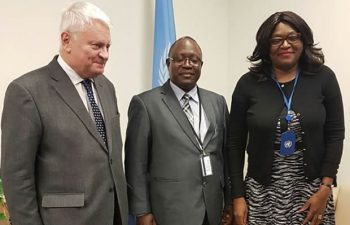 Army Commander Lieutenant General Paul Mihova (c), UN USG Hervé Ladsous (l) and Amb. Kasese-Bota at a meeting on peacekeeping with UN officials in New York.