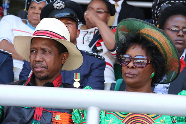 President Edgar Lungu with wife Esther at Heroes Stadium in Lusaka-Picture by Tenson Mkhala