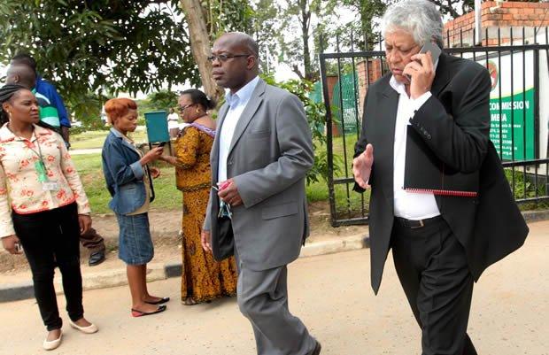Charles Kakoma with Dipak Patel at ECZ in Lusaka-picture by Tenson Mkhala