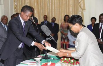 President Edgar Lungu swears in Dr Liya Mutale as Ministry of Tourism and Arts Permanent Secretary - Picture by State House