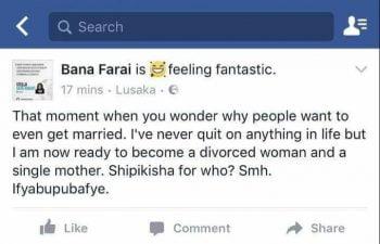 Screenshot of Stella Sata Rukayis status which she later deleted