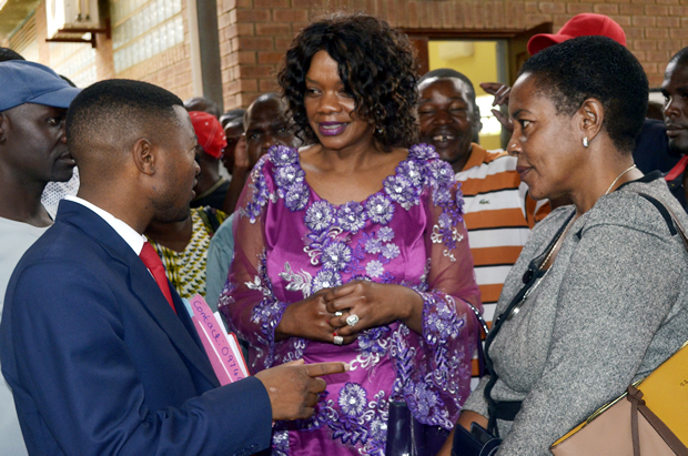 Former Chongwe MP Sylvia Masebo with lawyer Keith Mweemba at Court-picture by Tenson Mkhala