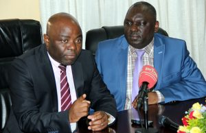 Defense minister Davies Chama with his Home Affairs counterpart Stephen Kampyongo during a joint press briefing in Lusaka -picture by Tenson Mkhala