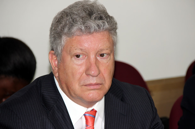 IMF advisor Paul Mathieu at a press briefing in Lusaka-picture by Tenson Mkhala