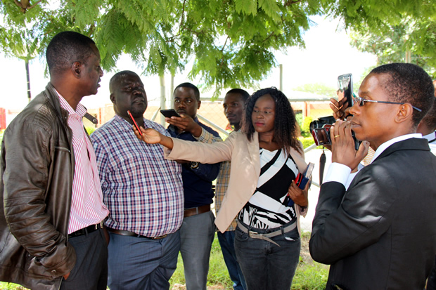 UPND's Likando Mufalali speaks to journalist in Lusaka-picture by Tenson Mkhala