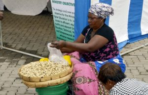 A woman selling groundnuts at East Park Mall in Lusaka -picture by Tenson Mkhala