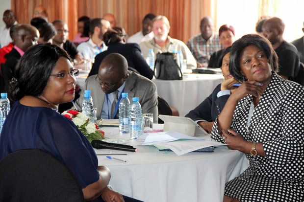 Agriculture minister Dora Siliya with her counterpart Commerce minister Magareta Mwanakatwe during a stakeholder consultative meeting on the fruits, vegetables and livingstock sector in Zambia-picture by Tenson Mkhala