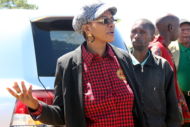 Sylvia Masebo at Lilayi turn off after being blocked by police-picture by Tenson Mkhala