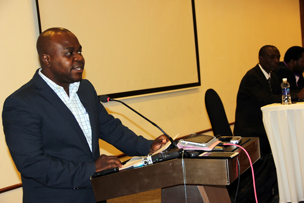 SACCORD Executive Director Boniface Cheembe during press briefing at Lusaka's Pamodzi Hotel-picture by Tenson Mkhala