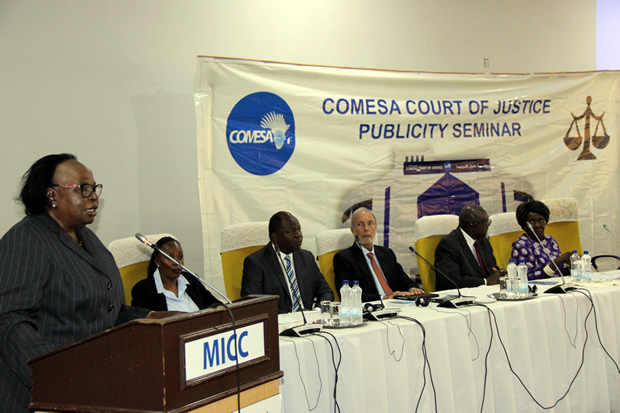Chief Justice Lombe Chibesakunda speaks during the official opening of the publicity seminar for Zambia by the COMESA court of Justice at Mulungushi International Conference Center in Lusaka-picture by Tenson Mkhala