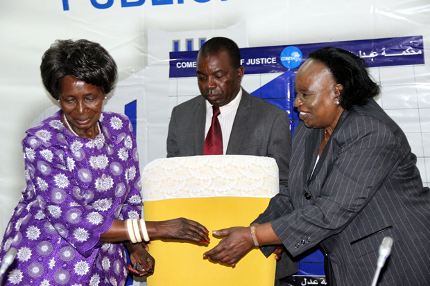 Vice president Inonge Wina is greeted by Chief Justice Lombe Chibesakunda during the official opening of the publicity seminar for Zambia by the COMESA court of Justice at Mulungushi International Conference Center in Lusaka-picture by Tenson Mkhala