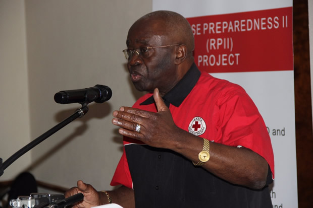 Zambia Red Cross society president Geoffrey SimasikuMinister in the office of the vie president  during the commioning of the strengthening emergency response at Pamodzi Hotel in Lusaka-picture by Tenson Mkhala