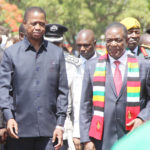 President Edgar Lungu with visiting Zimbabwean President Emmerson Mnangagwa shortly after laying wreaths at Lusaka's Freedom Statue during the commemoration of the 54th Zambia's Independence Day on October 24, 2018 Picture by Tenson Mkhala